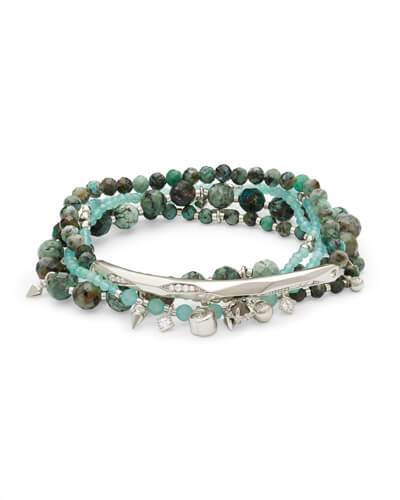 Supak Silver Beaded Bracelet Set in African Turquoise