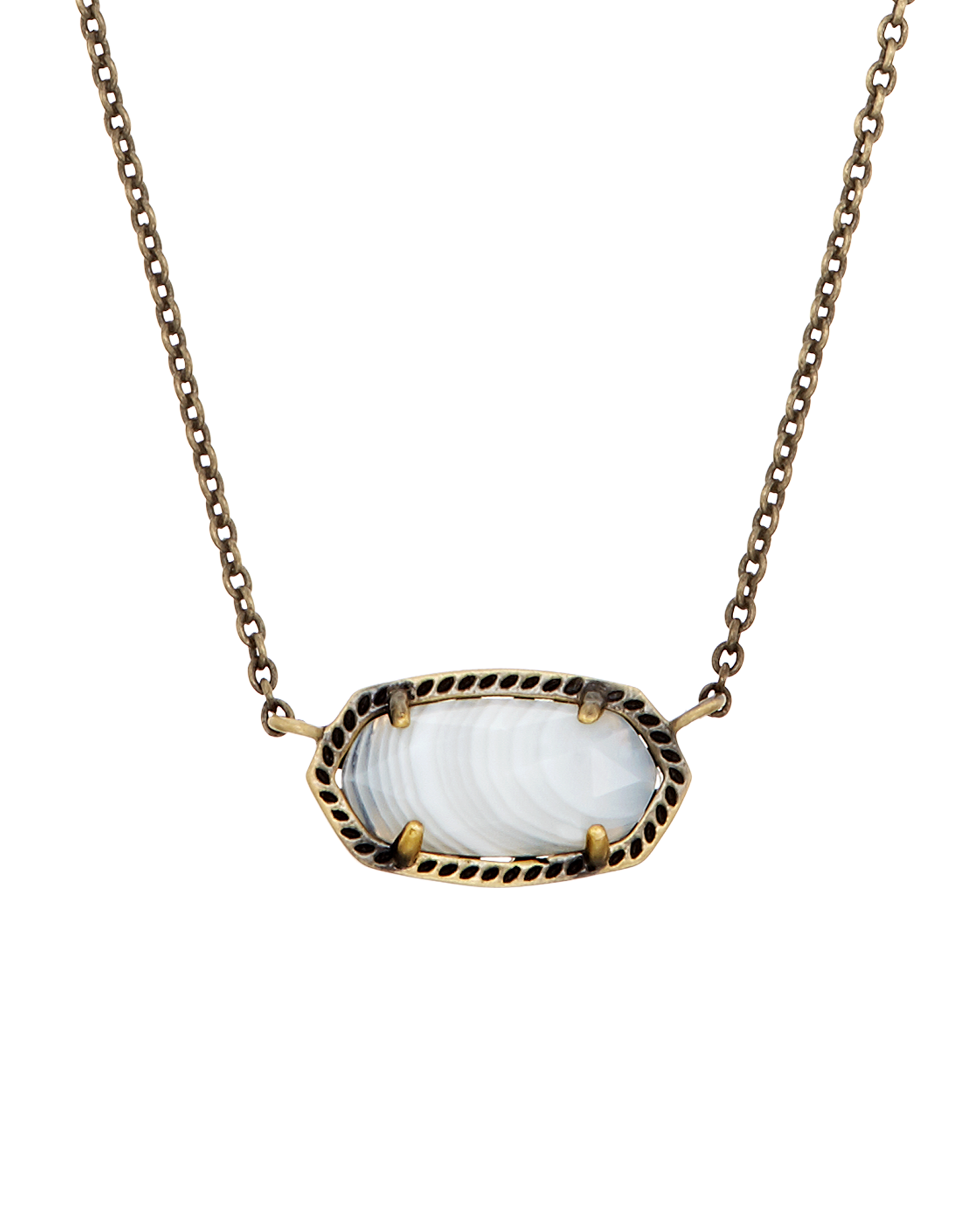 Elisa Pendant Necklace in White Banded Agate