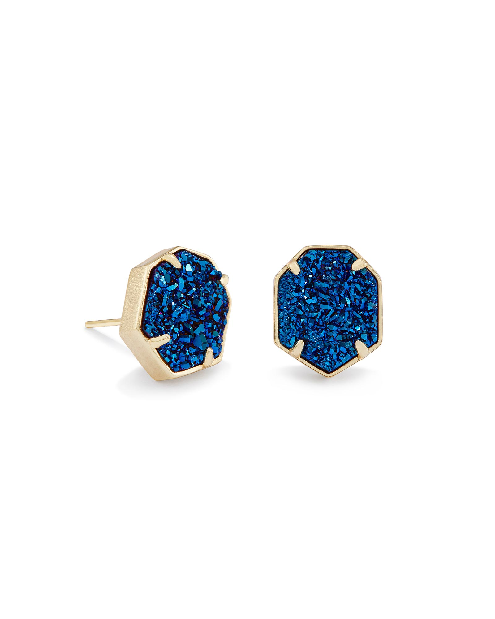 Taylor Stud Earrings In Blue Drusy