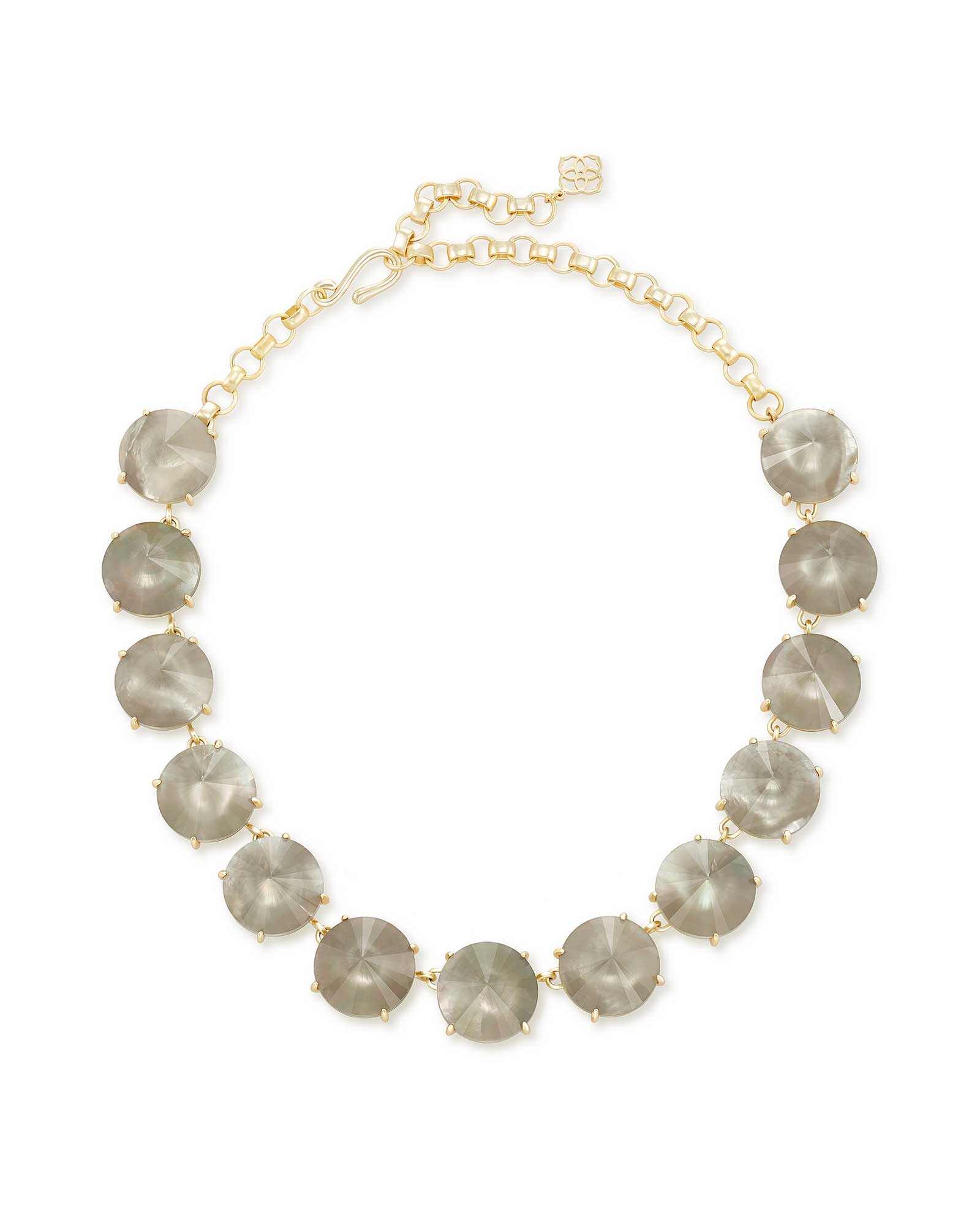 Jolie Gold Statement Necklace in Gray Illusion