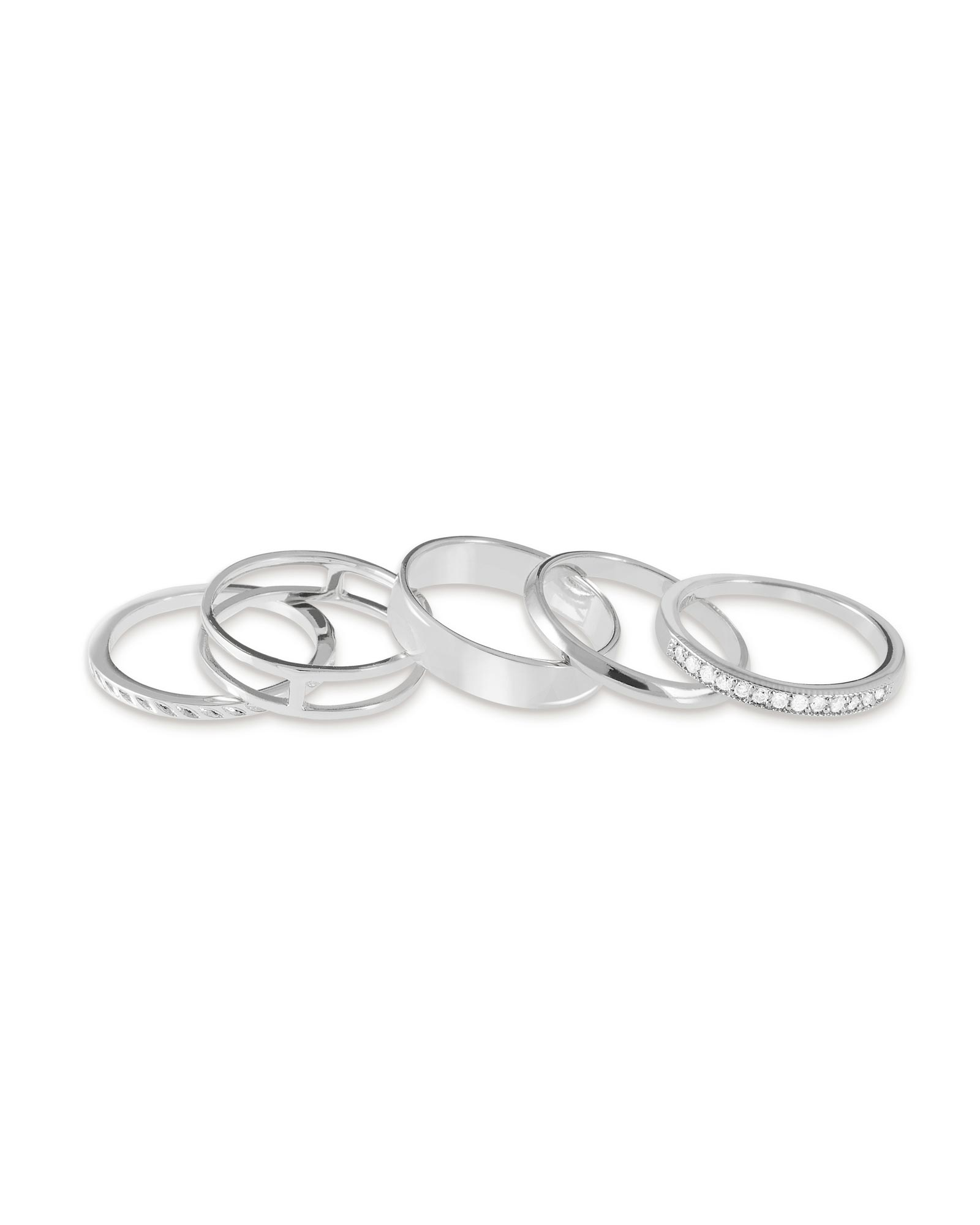 Kara Midi Ring Set in Silver