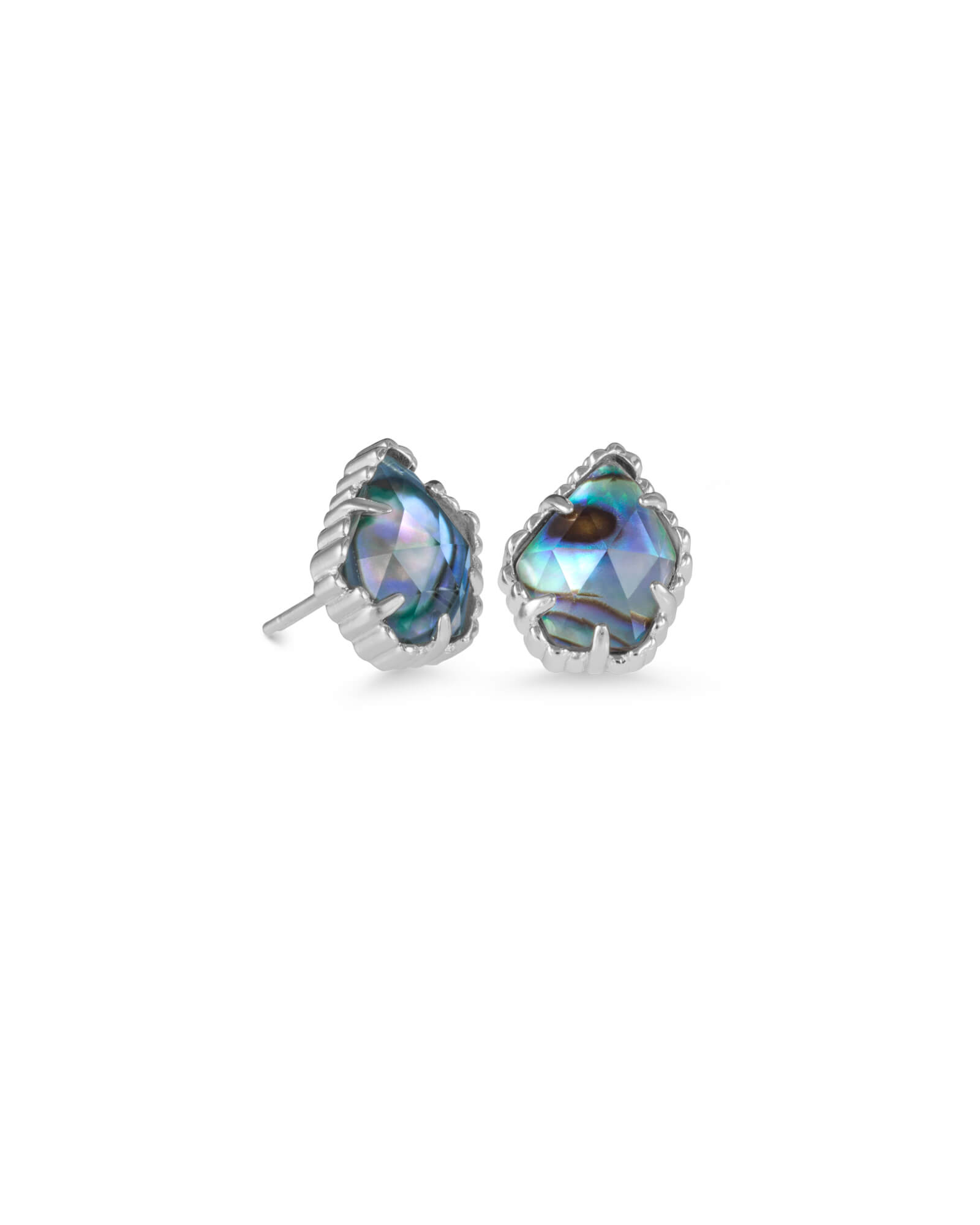 Tessa Silver Stud Earrings in Abalone Shell