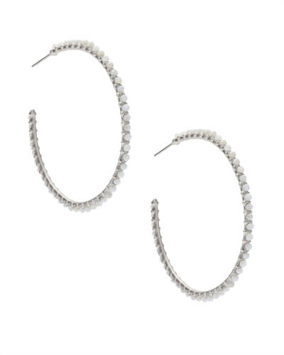 Birdie Silver Hoop Earrings in Ivory Pearl