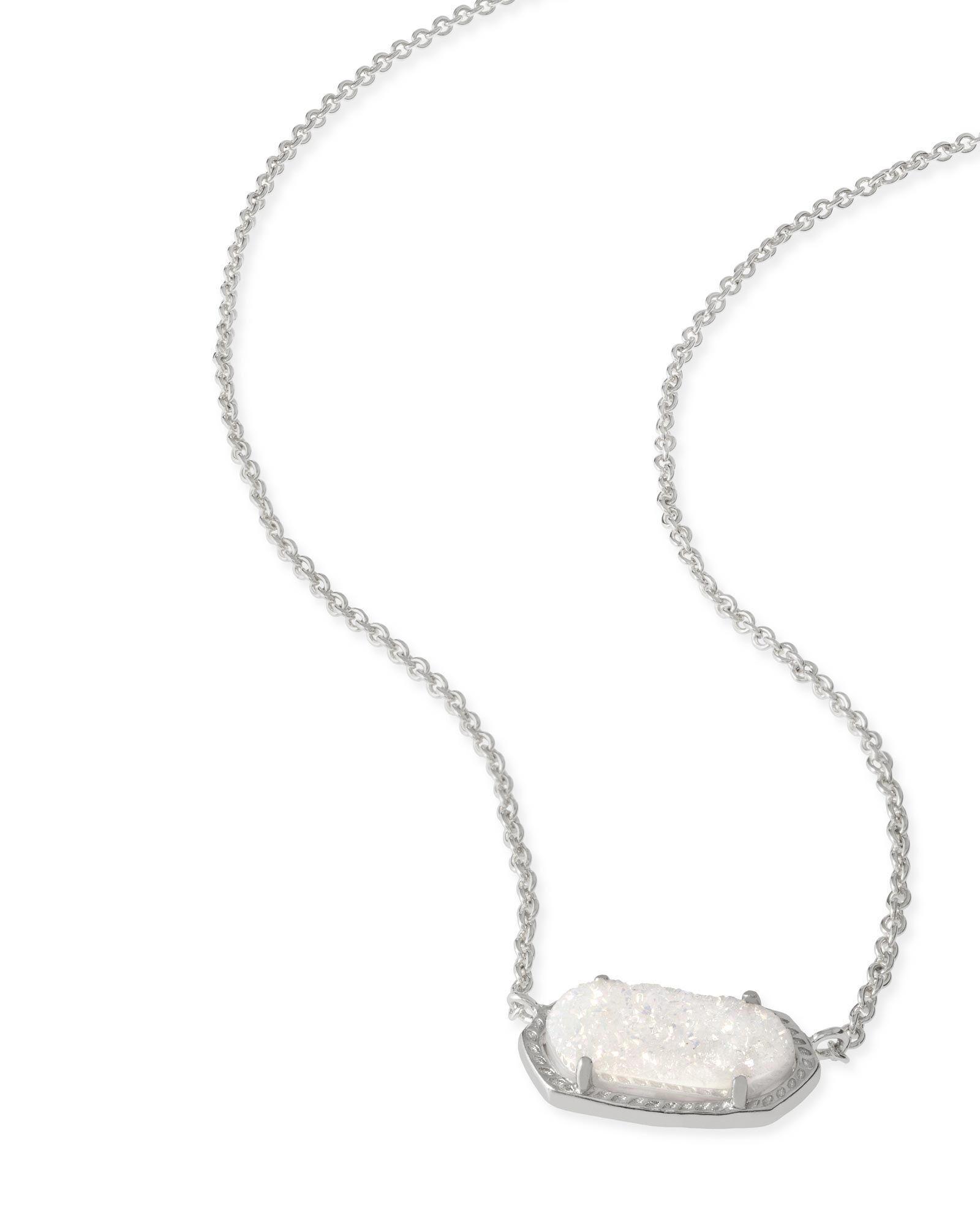 Elisa Silver Pendant Necklace in Iridescent Drusy
