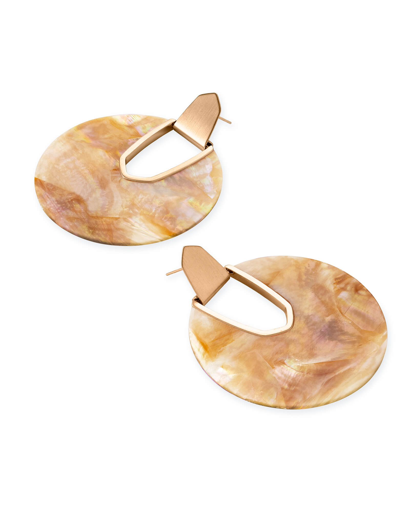 Diane Rose Gold Statement Earrings in Brown Mother of Pearl