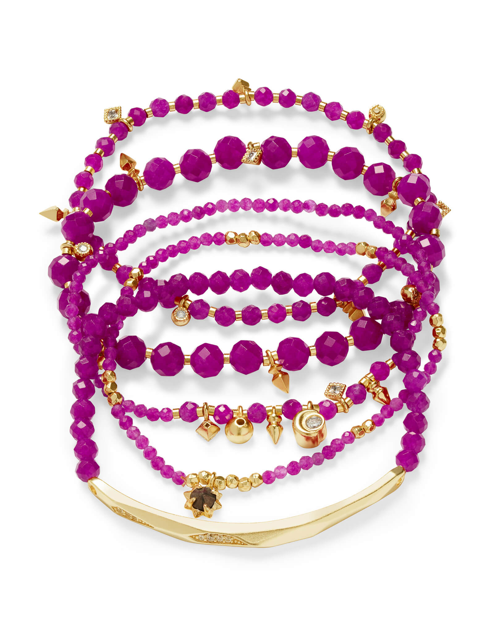 Supak Gold Beaded Bracelet Set in Purple Jade