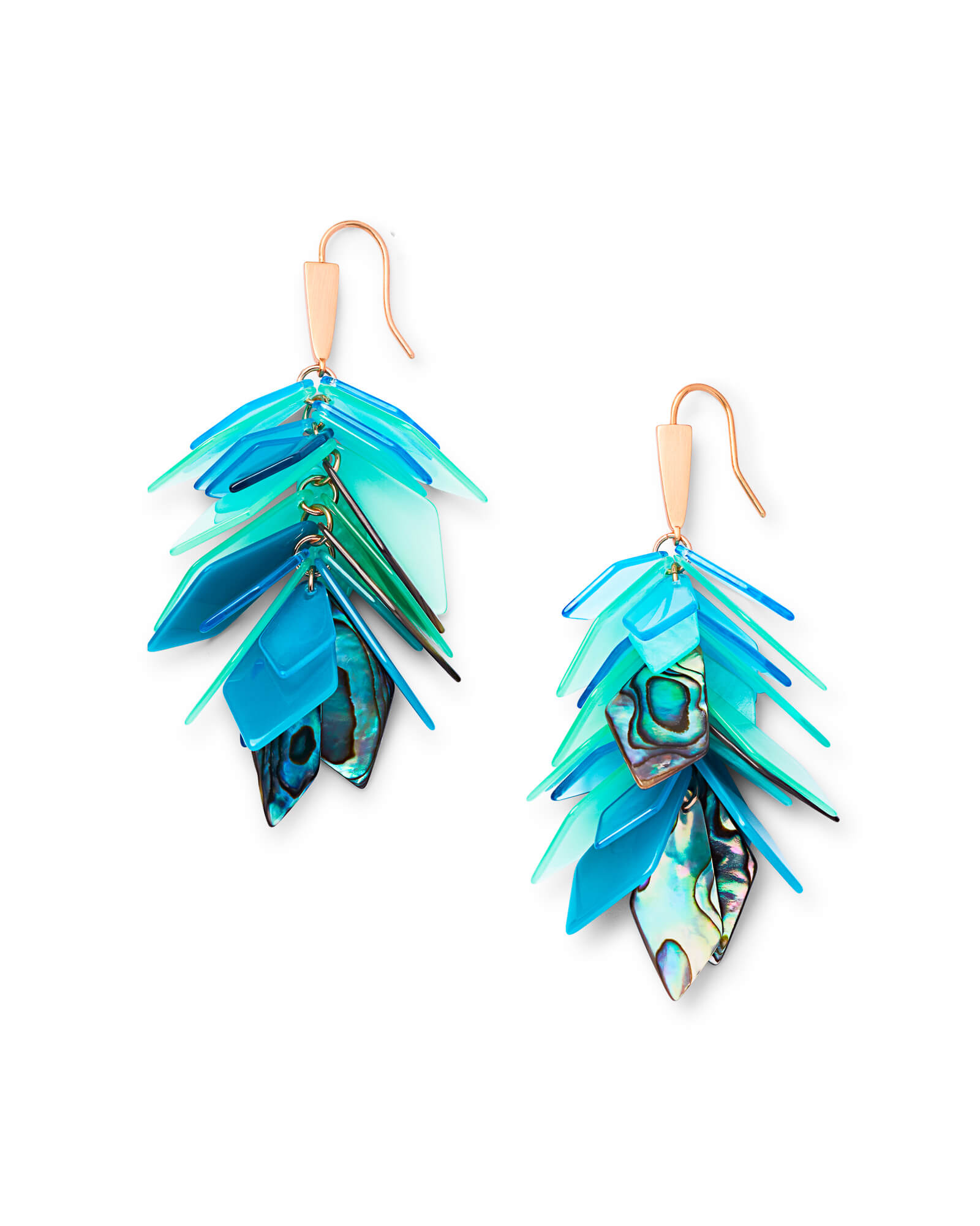 Jenni Rose Gold Statement Earrings in Abalone Mix