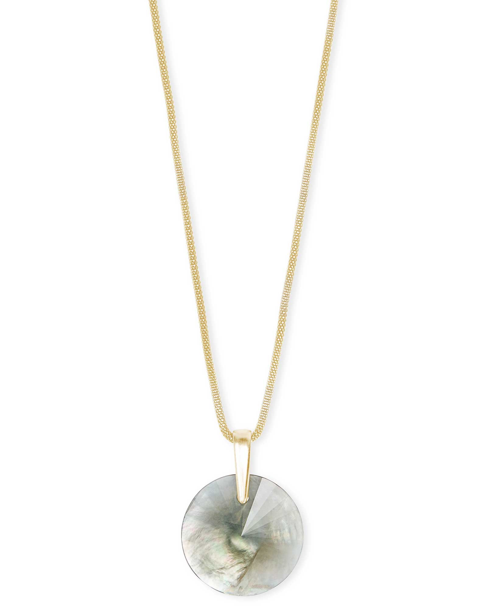 Jolie Gold Long Pendant Necklace in Gray Illusion