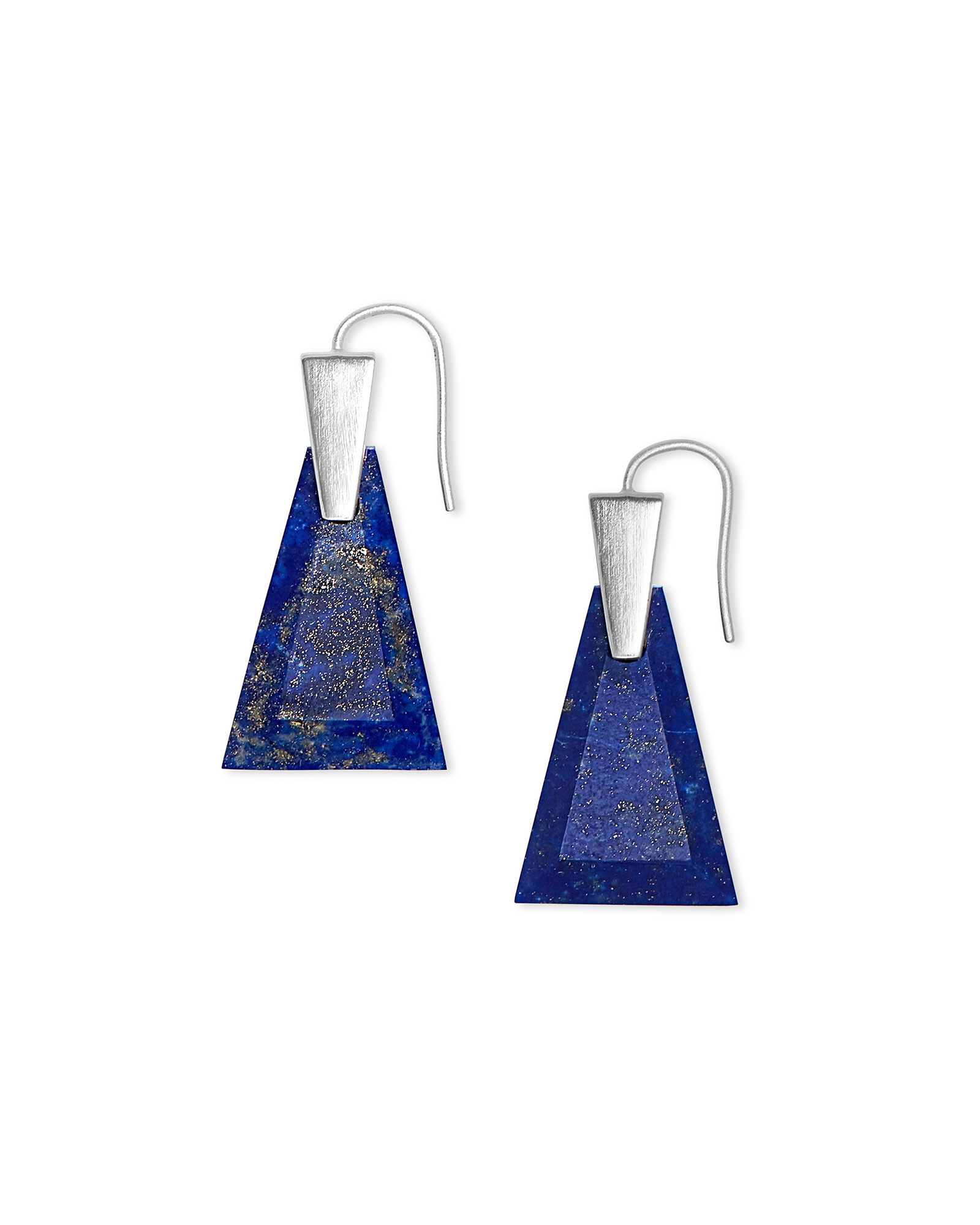 Collins Bright Silver Drop Earrings in Blue Lapis
