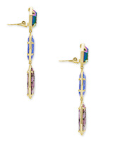 Nina Clip On Gold Linear Earrings in Purple Mix
