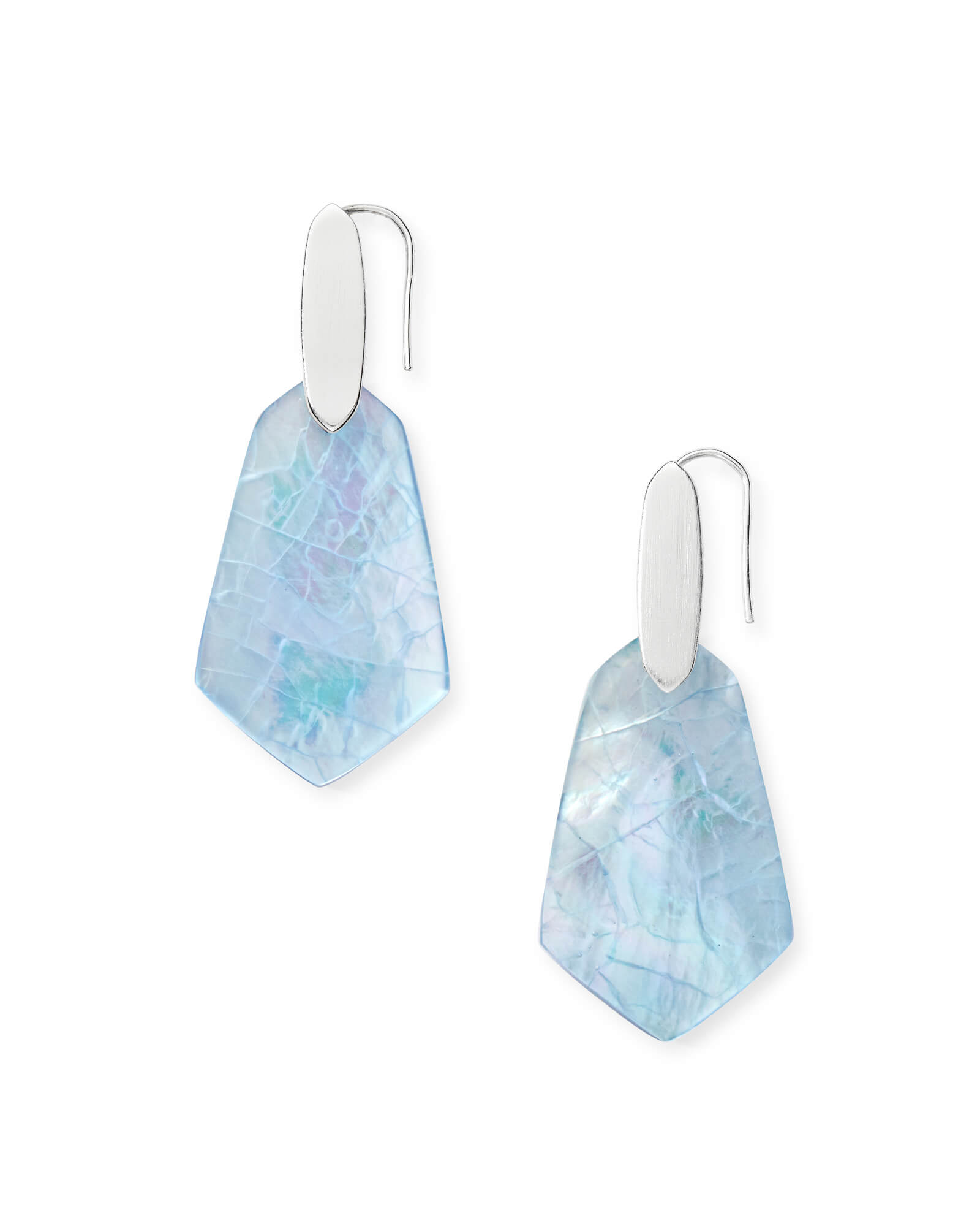 Camila Bright Silver Drop Earrings in Sky Blue Illusion