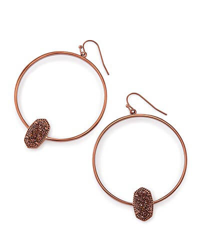 Elora Hoop Earrings in Chocolate Drusy