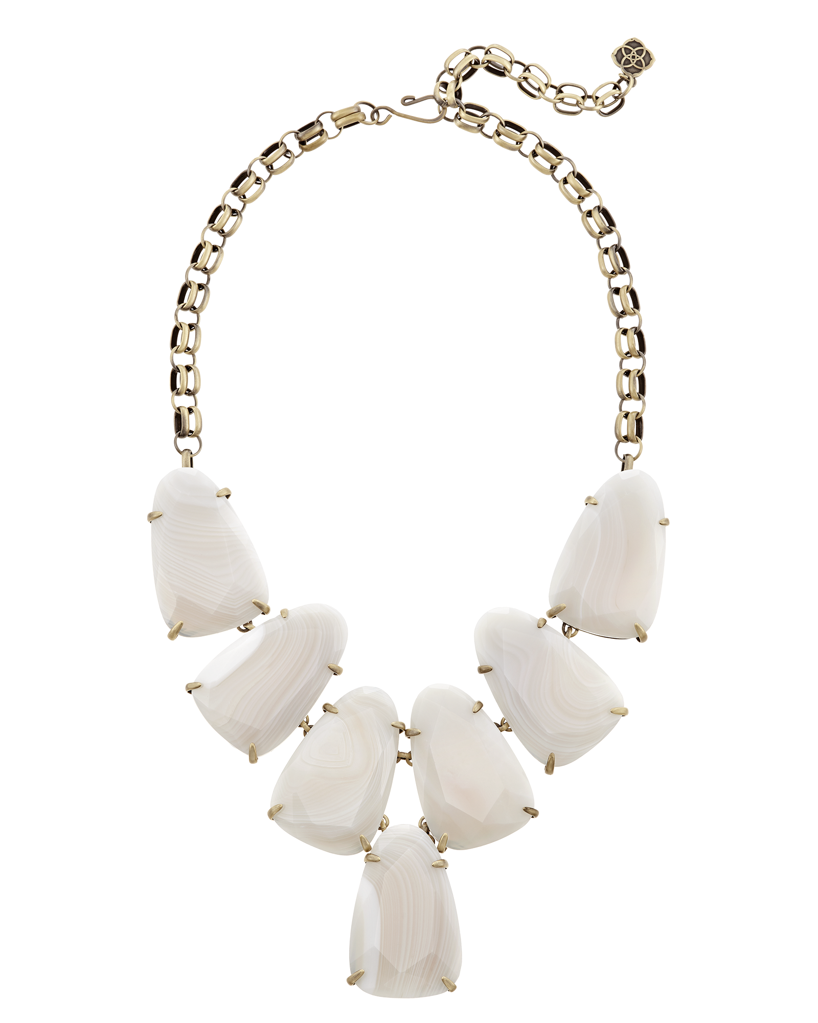 Harlow Statement Necklace in White Banded Agate