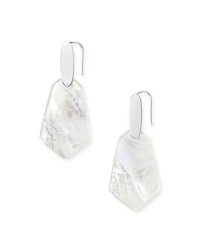 Camila Bright Silver Drop Earrings in Ivory Pearl