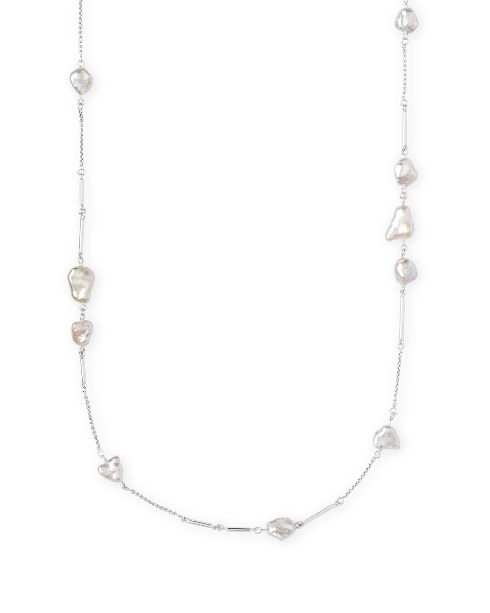 Sabrina Long Necklace in Pearl