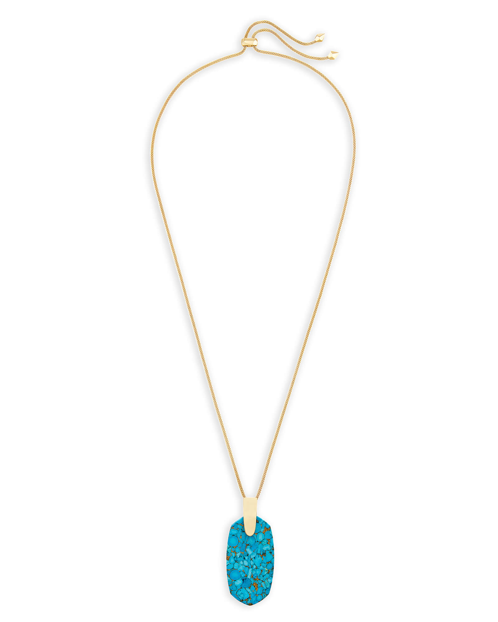 Inez Long Pendant Necklace in Bronze Veined Turquoise Magnesite
