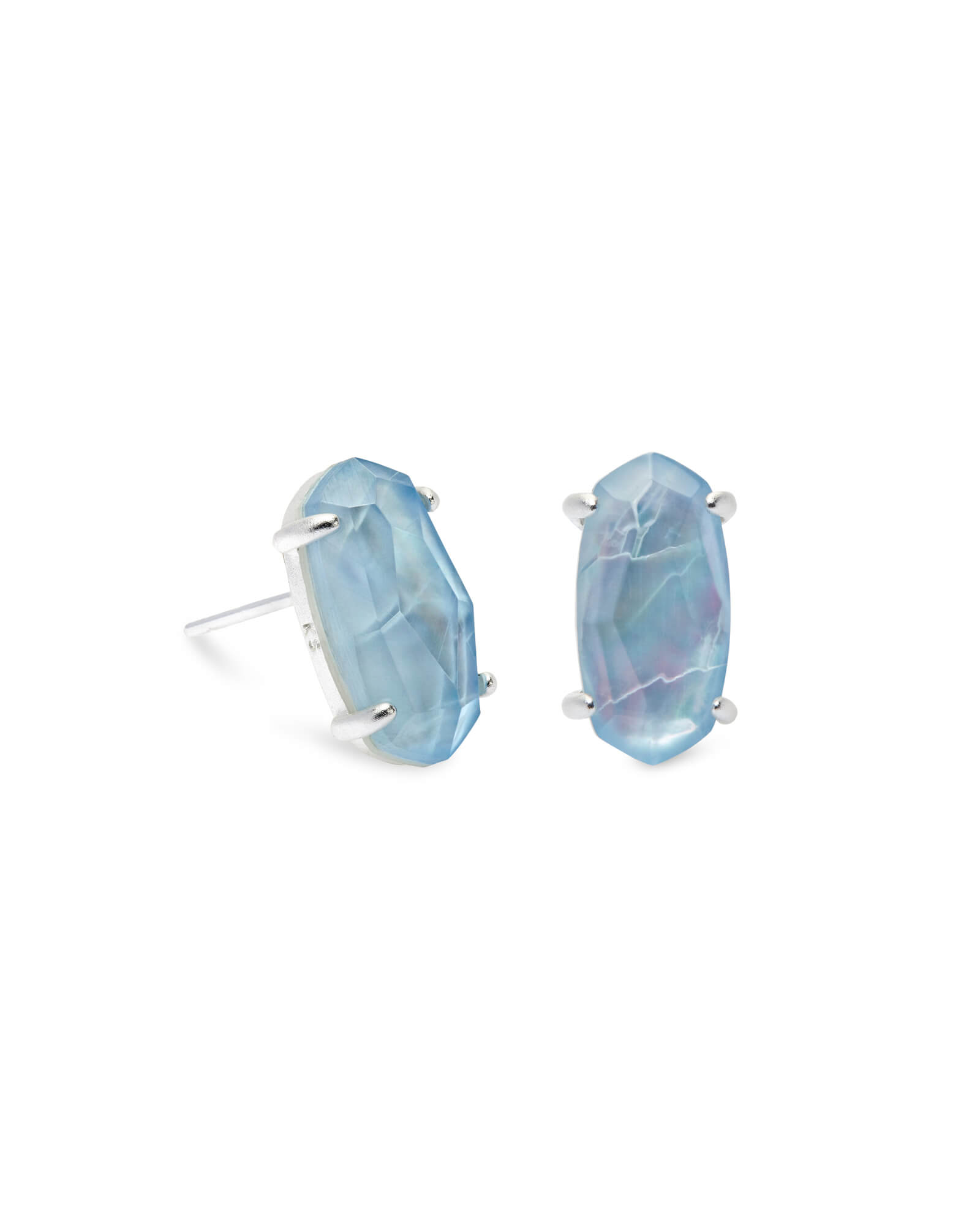 Betty Bright Silver Stud Earrings in Sky Blue Illusion