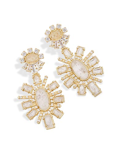 Glenda Statement Earrings in Rock Crystal