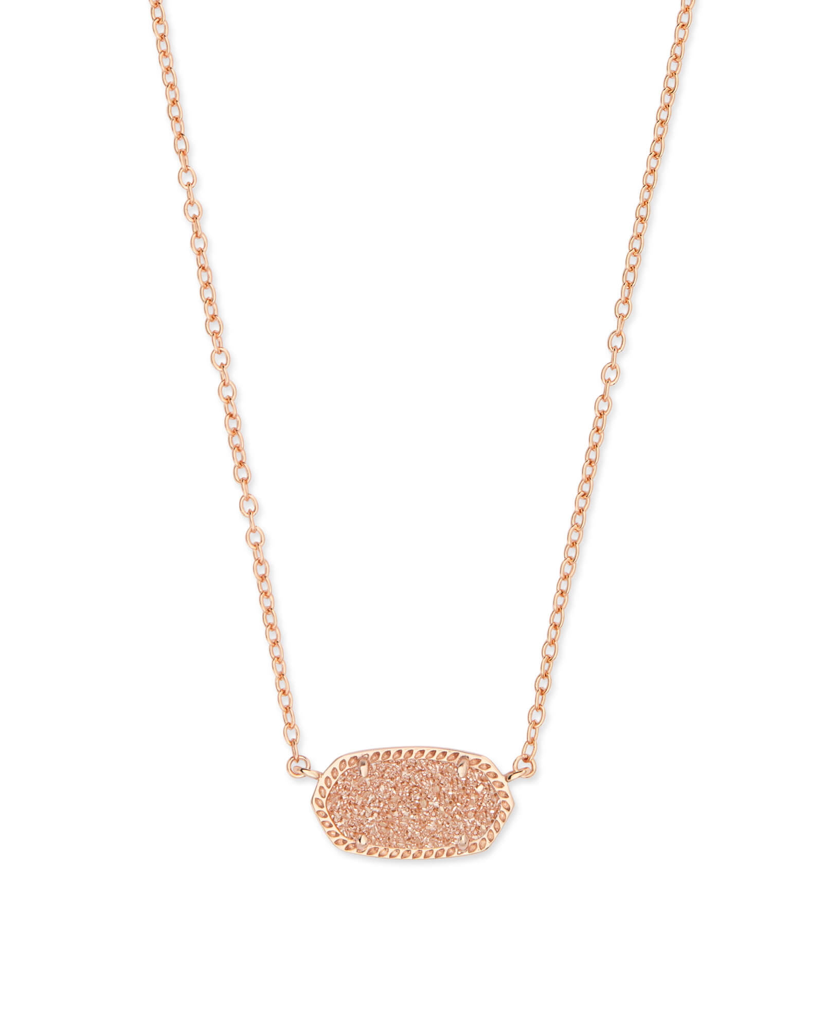 Elisa Rose Gold Pendant Necklace in Sand Drusy