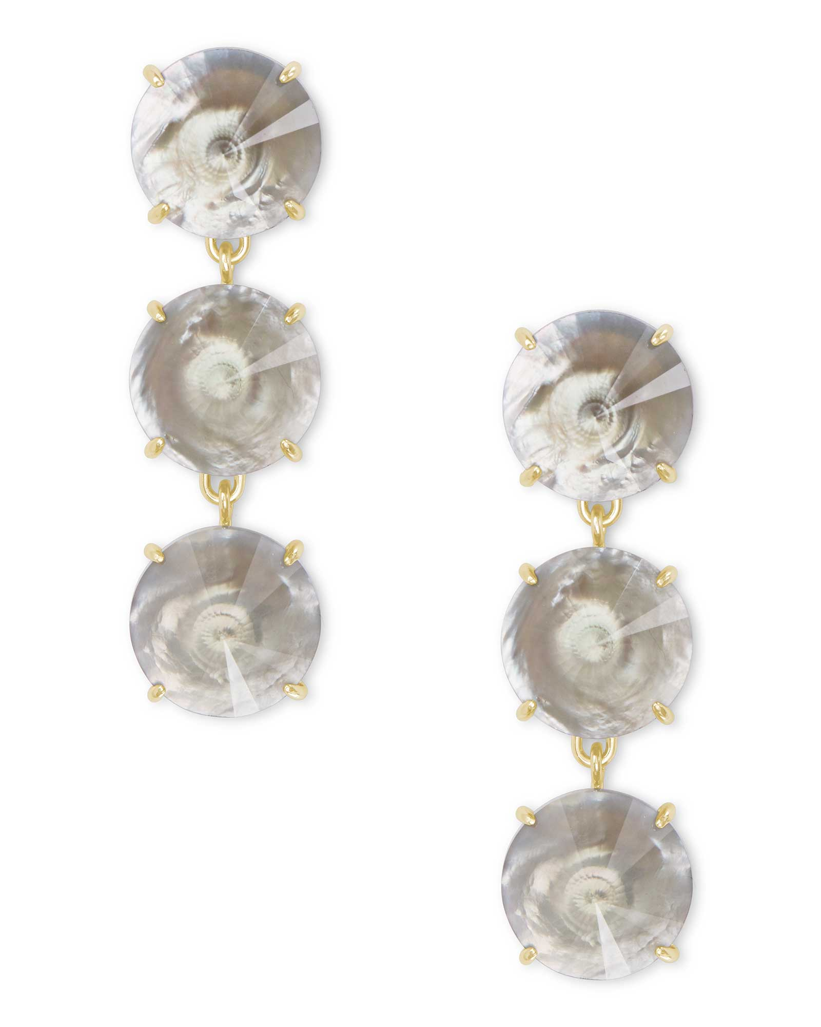 Jolie Gold Statement Earrings in Gray Illusion