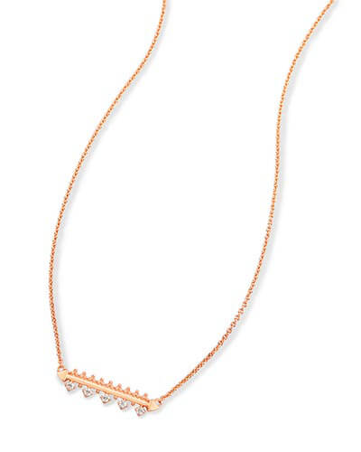 Anissa Bar Pendant Necklace in Rose Gold