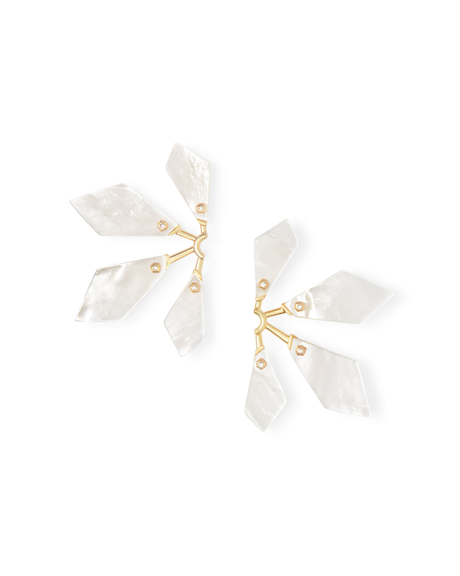 Malika Gold Statement Earrings in Ivory Mother-of-Pearl