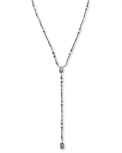 Bethany Silver Y Necklace in African Turquoise