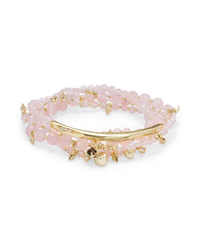 Supak Gold Beaded Bracelet Set in Rose Quartz