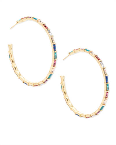 Thora Gold Hoop Earrings in Jewel Tone Mix