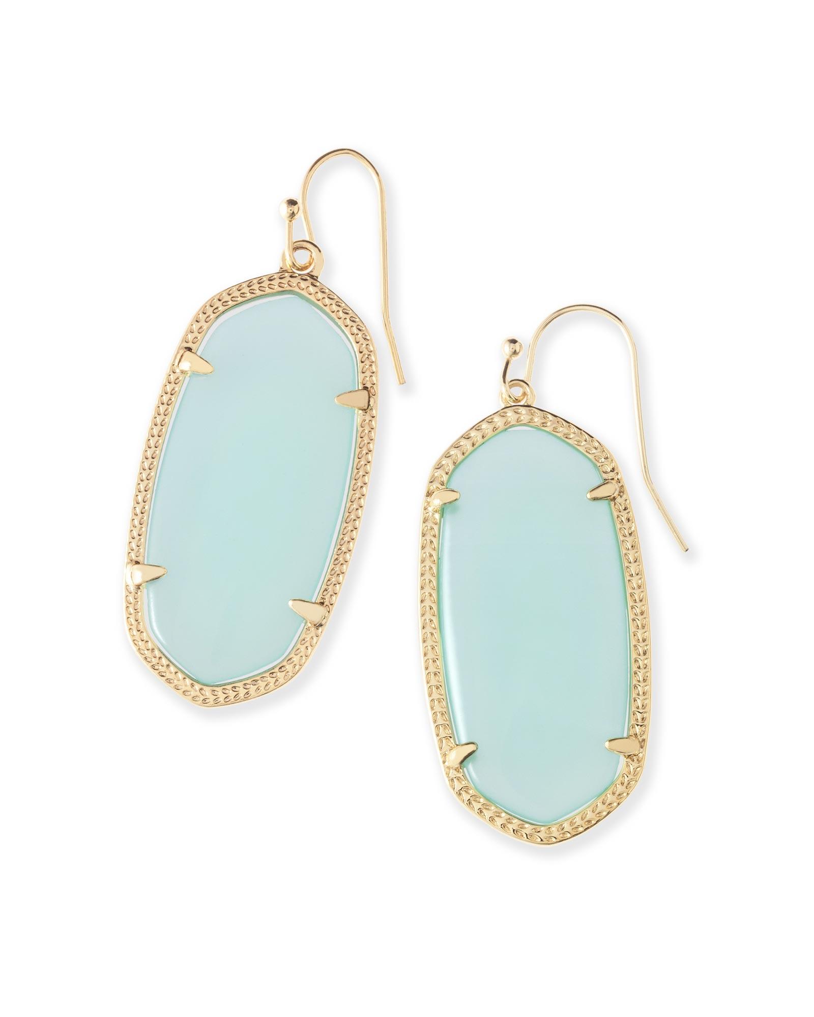 Elle Gold Drop Earrings In Chalcedony Gl