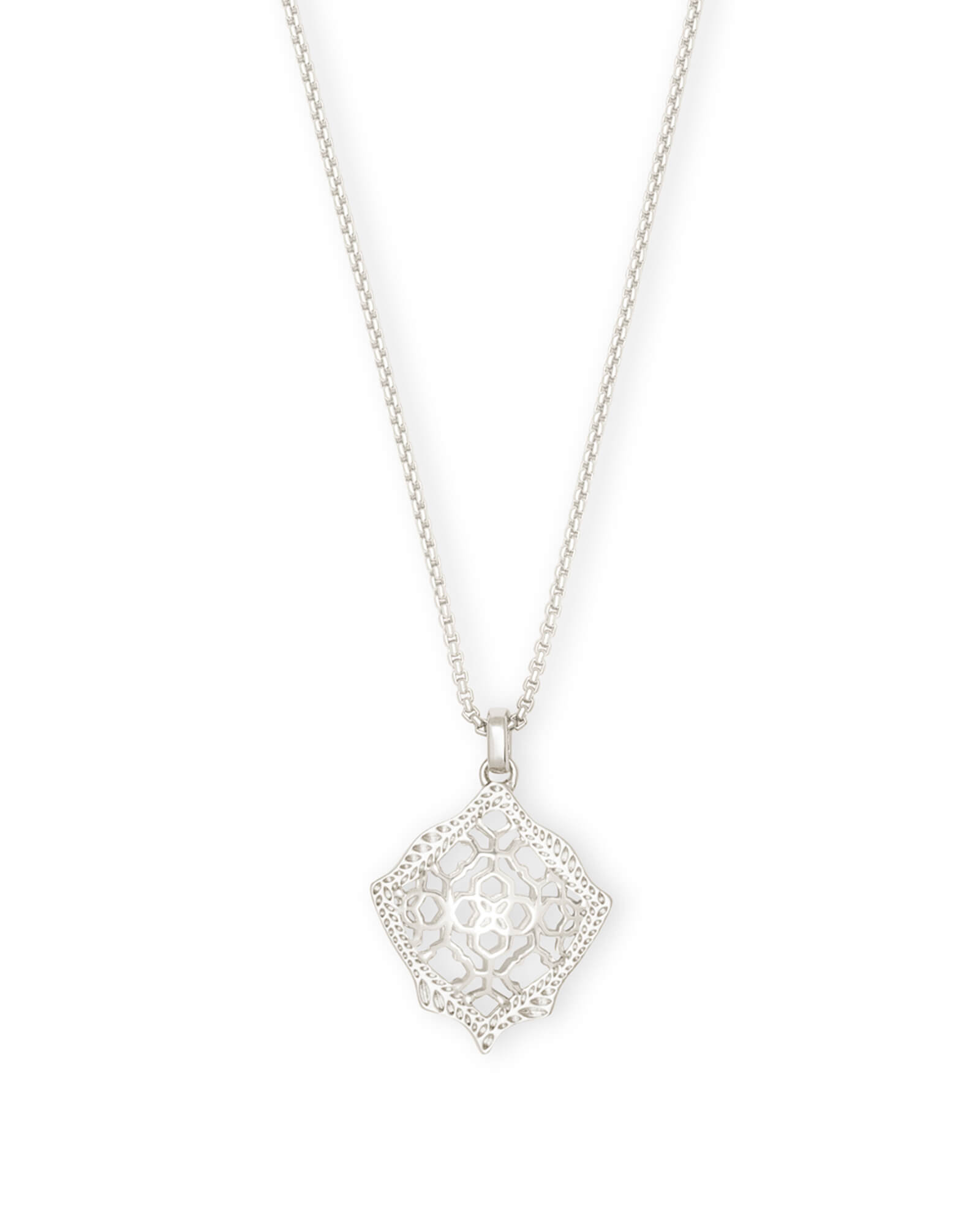 Kacey Silver Long Pendant Necklace in Silver Filigree Mix