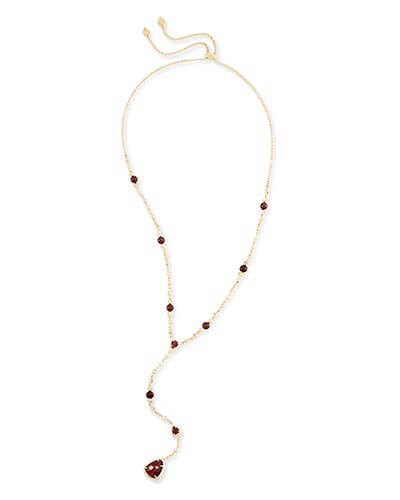 Lucielle Y Necklace in Bordeaux Tiger's Eye