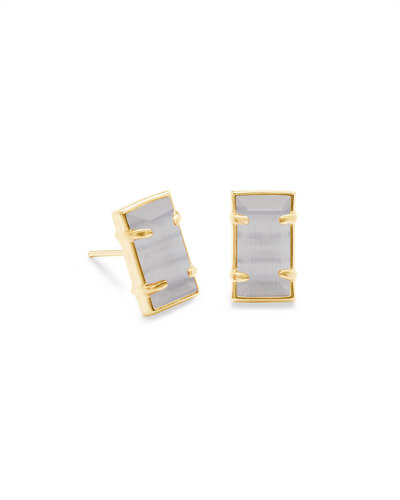 Paola Gold Stud Earrings in Slate Cats Eye