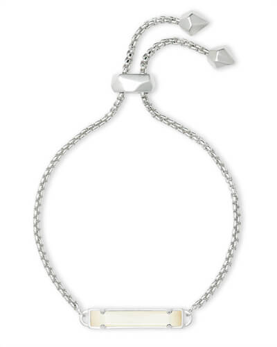 Stan Silver Adjustable Chain Bracelet in White Pearl