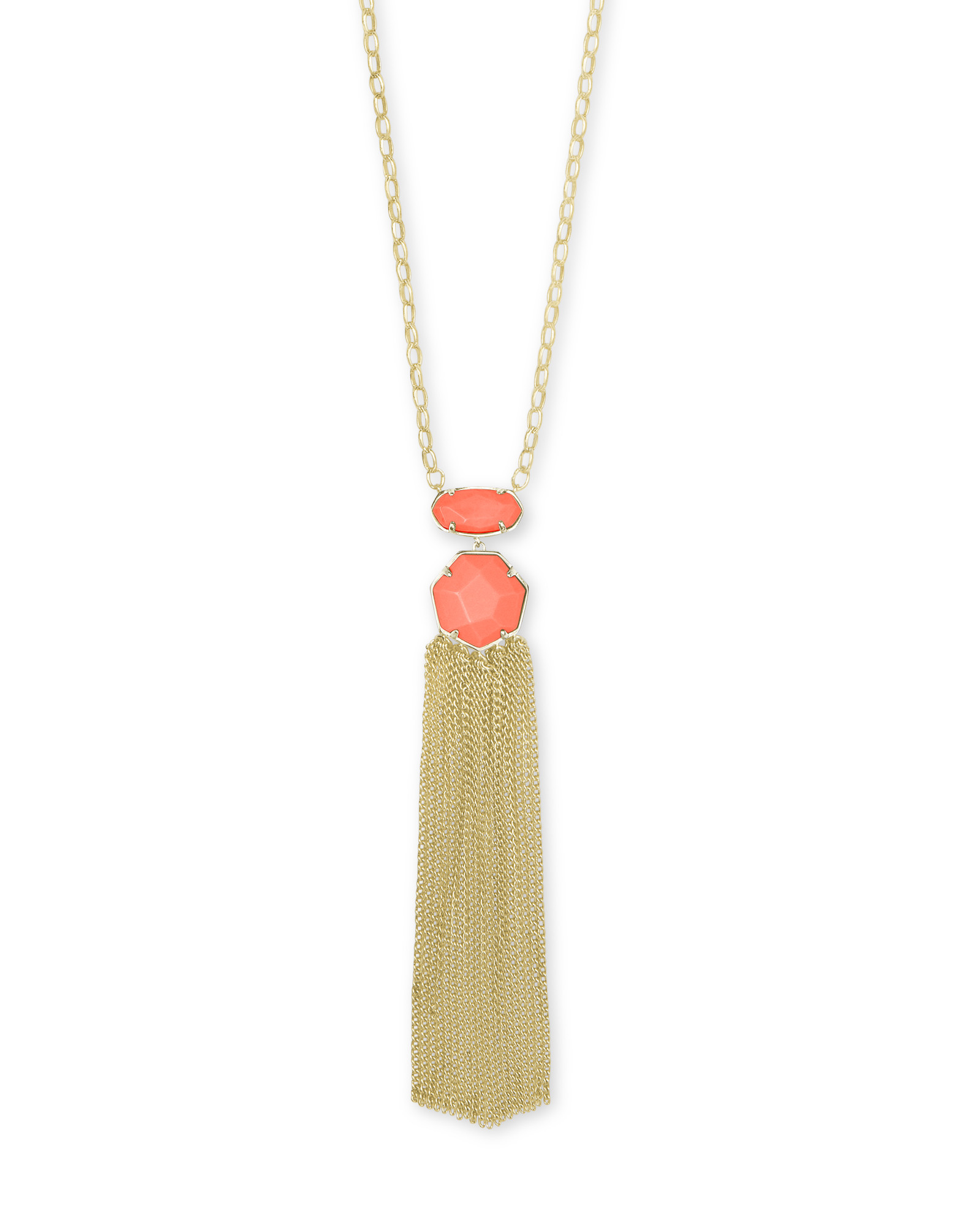 Tae Gold Long Pendant Necklace in Bright Coral Magnesite