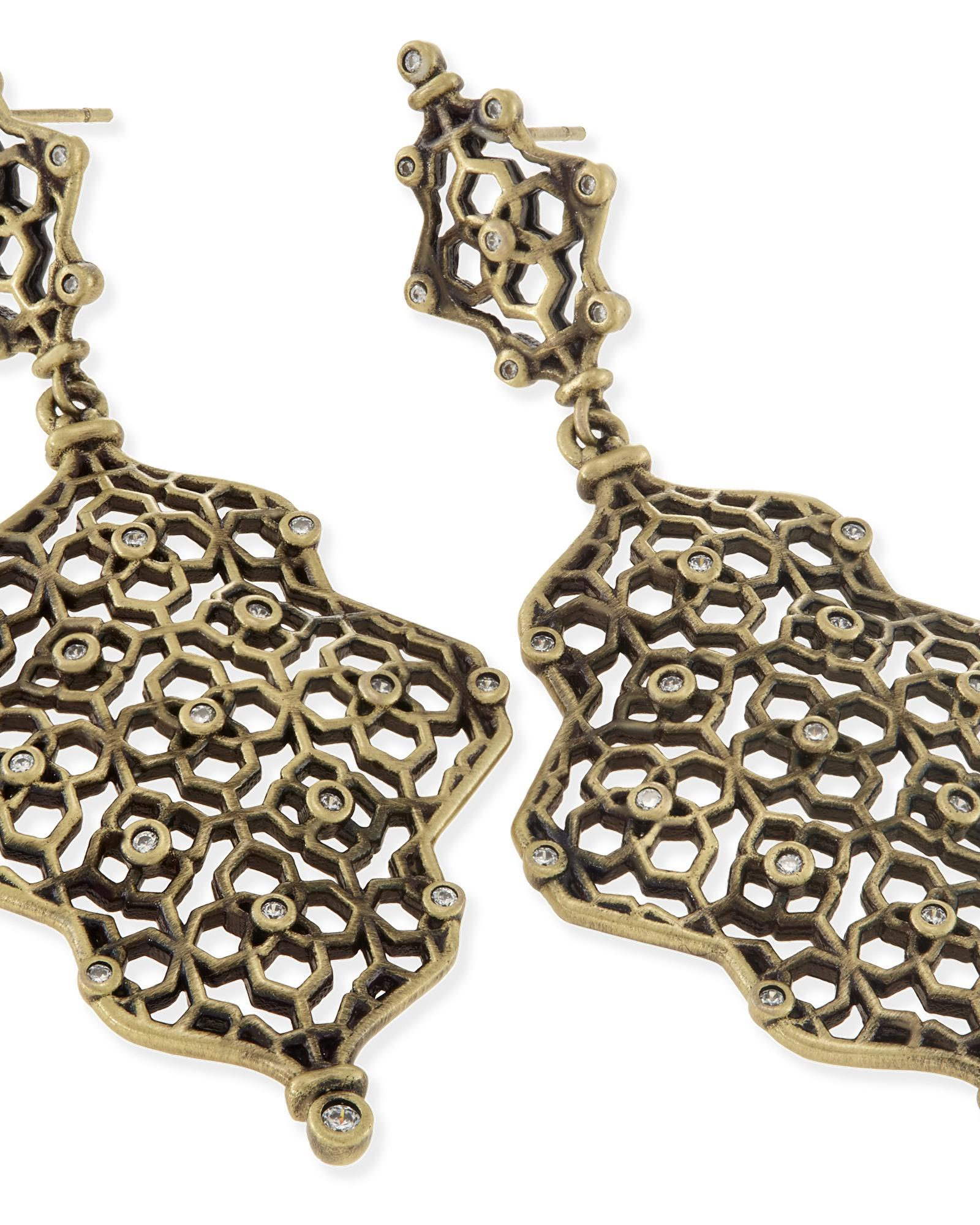 Renee Statement Earrings in Antique Brass