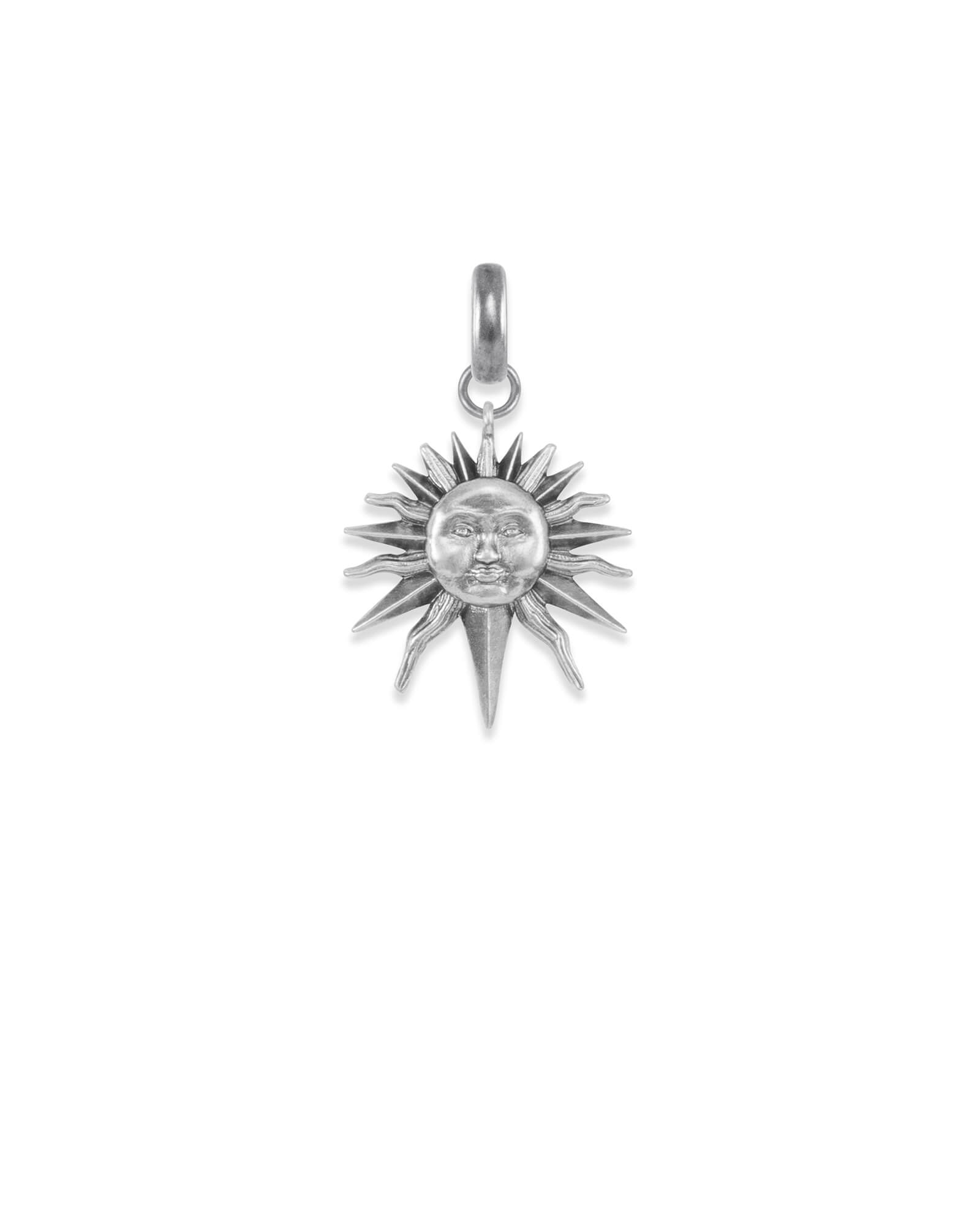 Sun Charm in Vintage Silver
