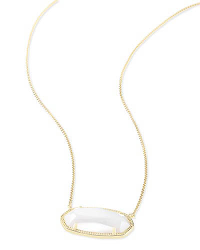 Delaney Gold Pendant Necklace in White Pearl