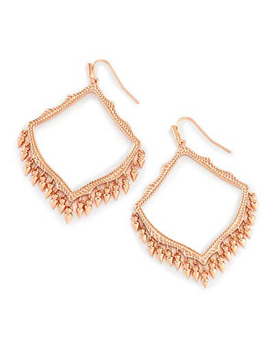 Lacy Drop Earrings in Rose Gold