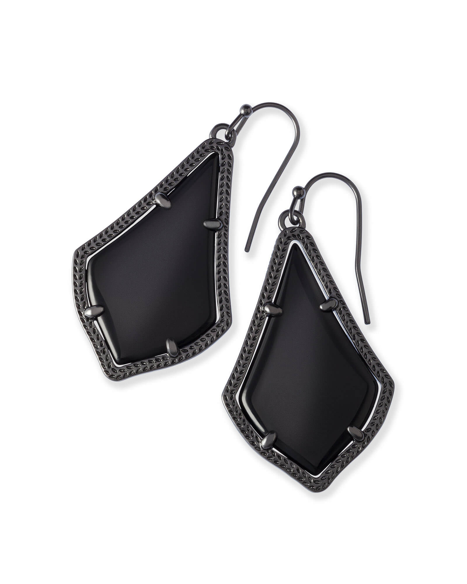 Alex Drop Earrings in Gunmetal
