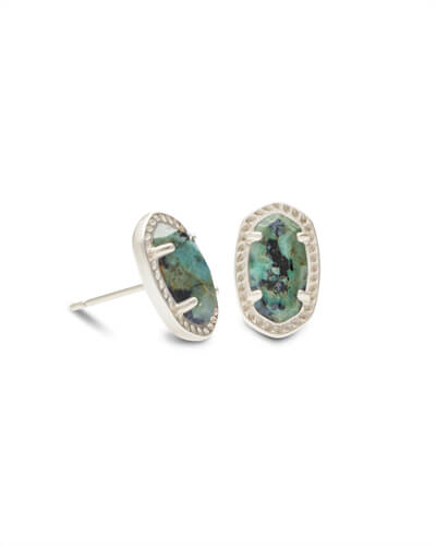 Emery Silver Stud Earrings in African Turquoise