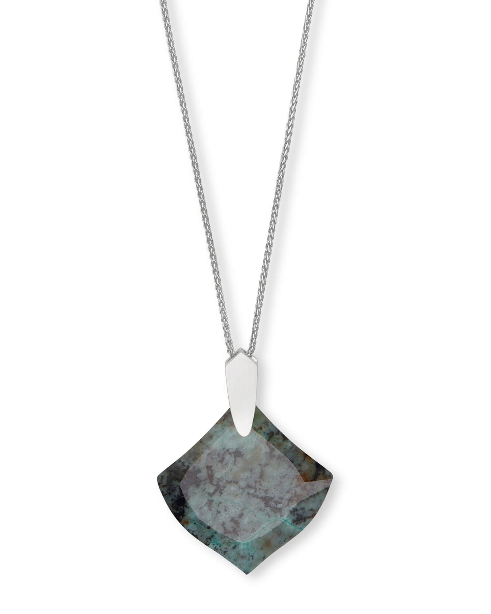 Aislinn Silver Long Pendant Necklace in African Turquoise