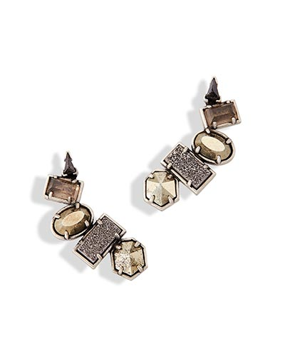 Frankie Ear Climbers in Antique Silver