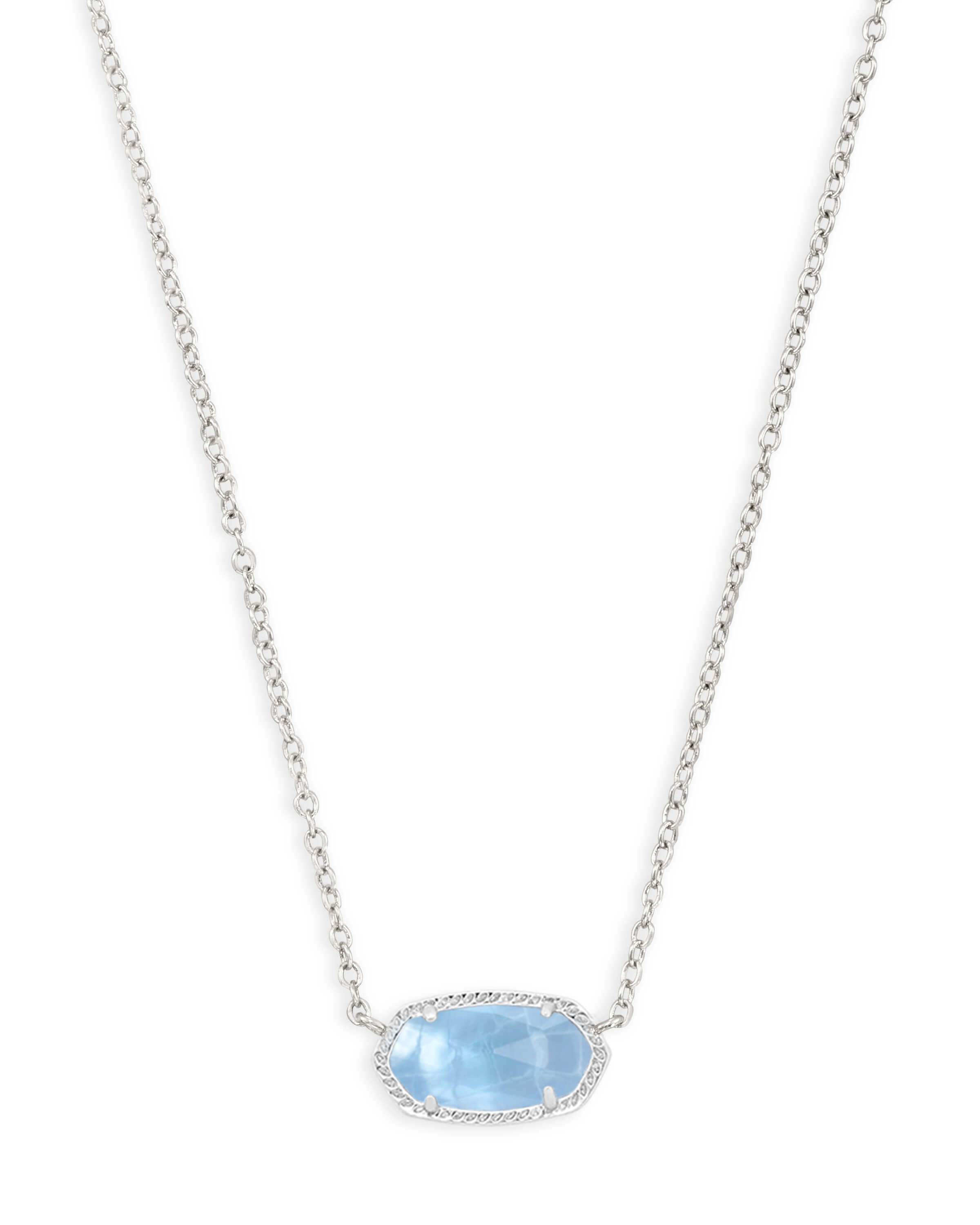 Elisa Silver Pendant Necklace in Sky Blue Illusion