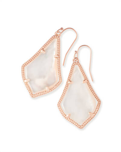 Alex Rose Gold Drop Earrings in Ivory Pearl
