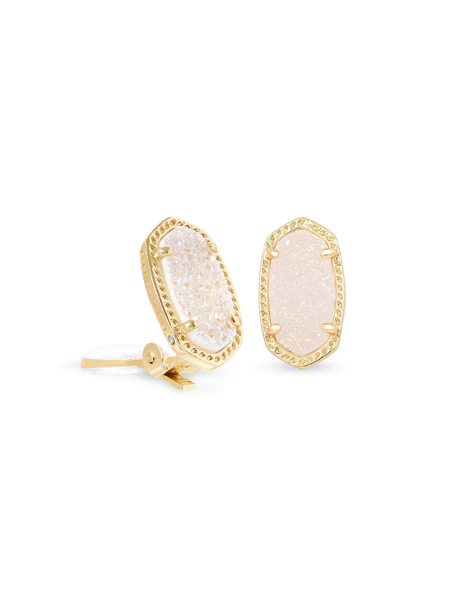 Ellie Clip On Gold Stud Earrings in Iridescent Drusy
