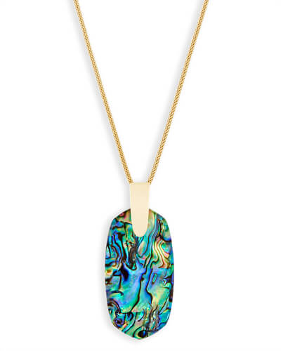 Inez Gold Long Pendant Necklace In Abalone Shell