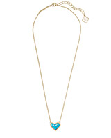 Ari Heart Gold Short Pendant Necklace in Turquoise Magnesite