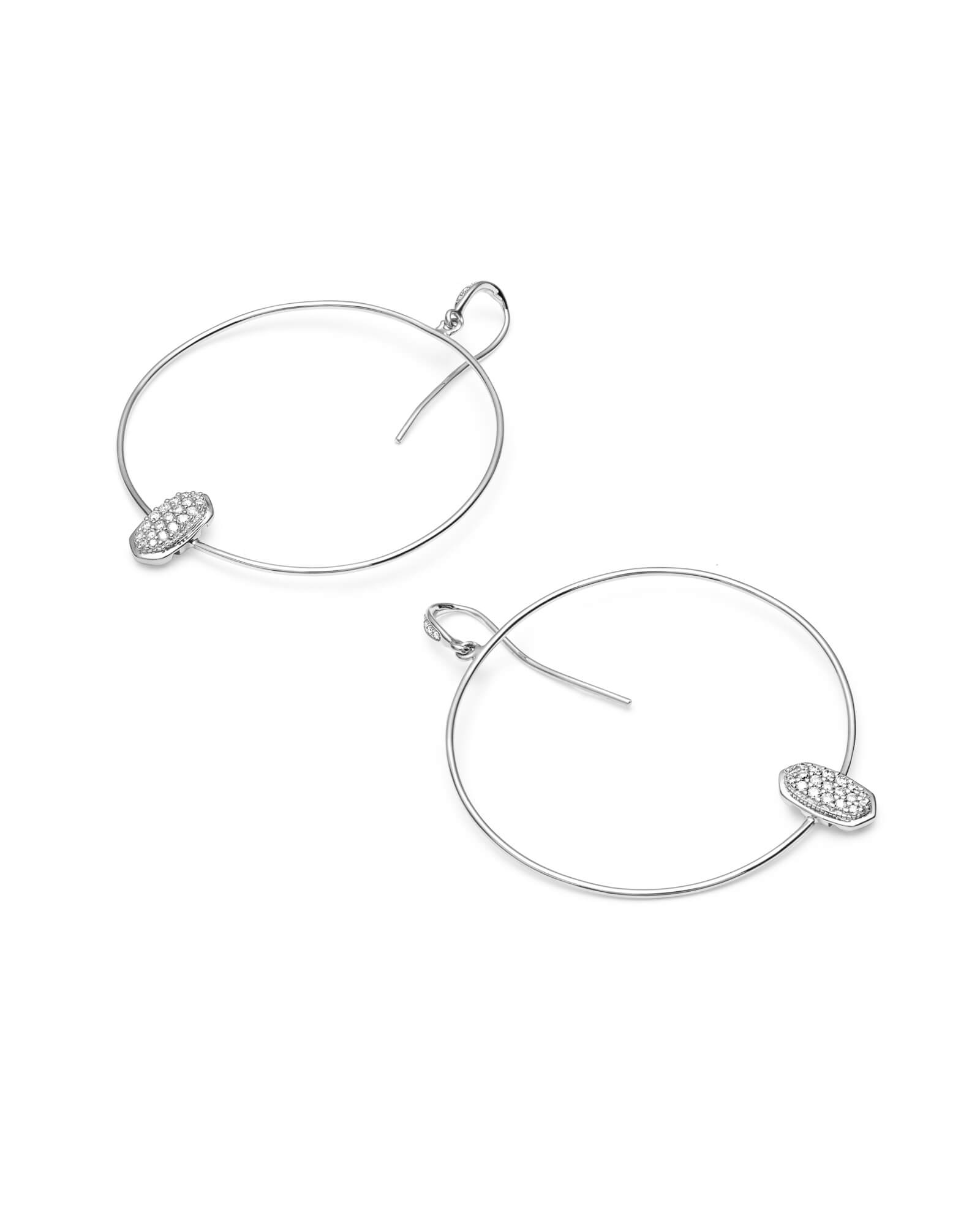 Elora 14k White Gold Hoop Earrings in White Diamond