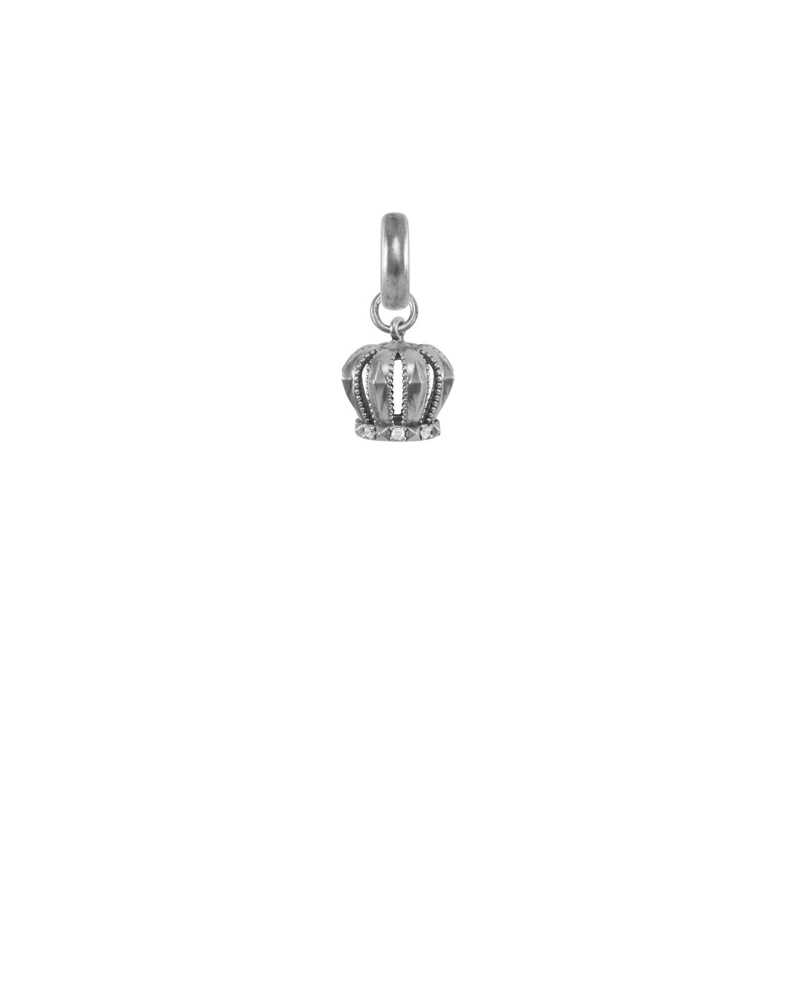 London Crown Charm in Vintage Silver
